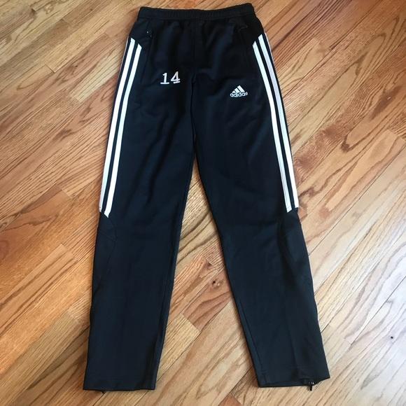adidas Bottoms | Track Pants Black White Stripe Kids 1012